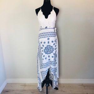 L'Atiste by Amy blue & white maxi dress